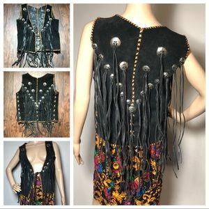 Vintage 80s Leather Suede Fringe Vest Medium